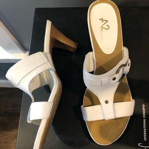 Aerosoles White Slip on Heeled Sandals